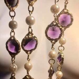 Jewelry - Gold Plated Chiclet Faux Pearl Sautoir Necklace
